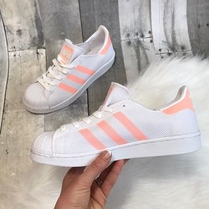 Adidas new superstar mesh body peach stripes